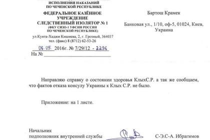 Російські тюремники надали відповідь про стан здоров'я Клиха