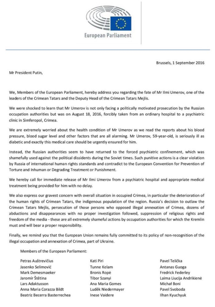 MEPs' letter to Putin re. Umerov, Sept. 1, 2016